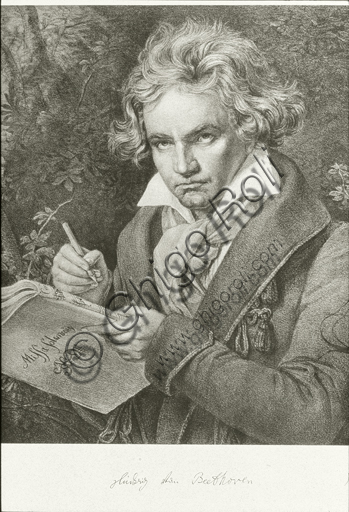 """Ludwig van Beethoven"", pencil and charcoal drawing."