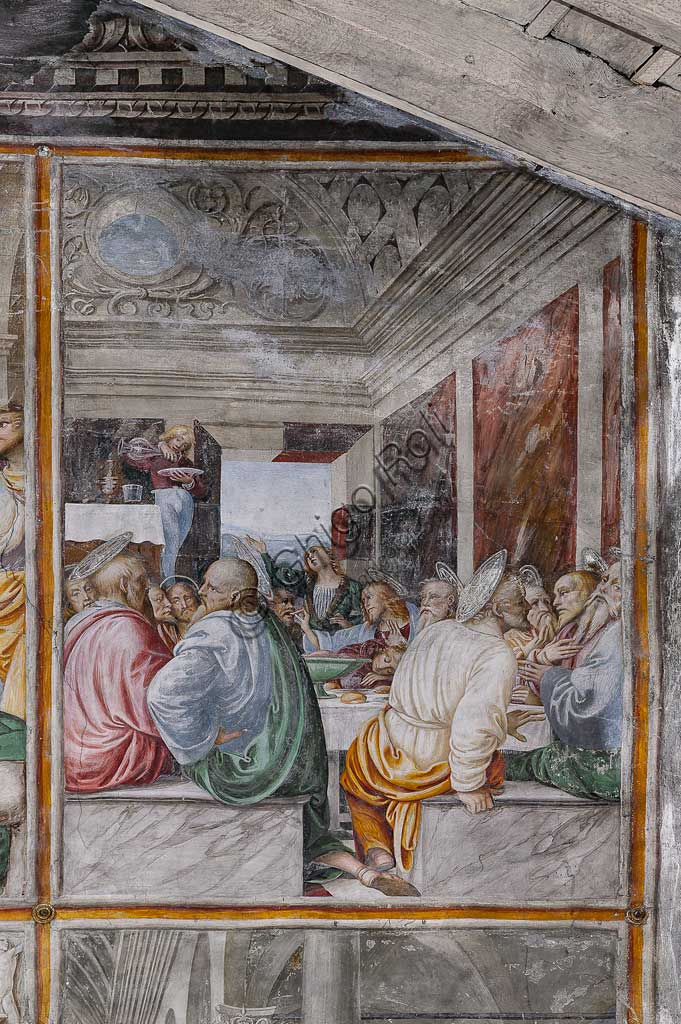 "Varallo Sesia, Church of Santa Maria delle Grazie: frescoes of the Gaudenzio Ferrari wall ""The life and the Passion of Christ"", by Gaudenzio Ferrari, 1513. Detail of ""The Last Supper""."