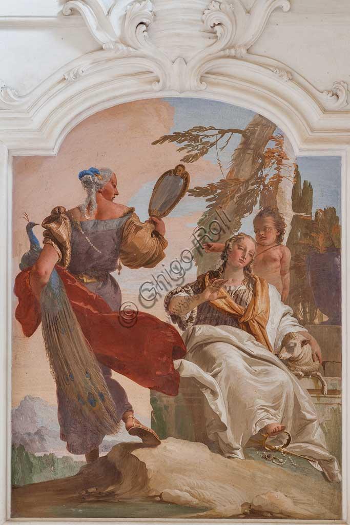 """Villa Loschi  Motterle (già Zileri e Dal Verme), salone d'onore: """"L'Umiltà scaccia la Superbia"""", affresco allegorico di Giambattista Tiepolo (1734)."""