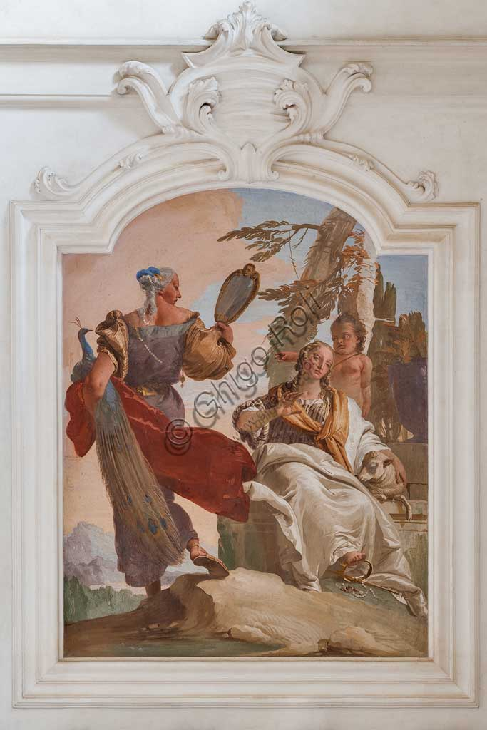 "Villa Loschi  Motterle (formerly Zileri e Dal Verme), the hall of honour: ""Humility sending away Pride"", allegorical fresco by Giambattista Tiepolo (1734)."