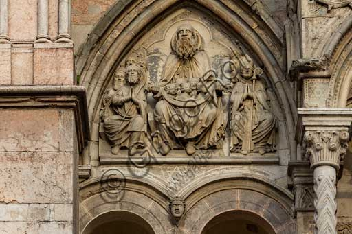 Ferrara, the Cathedral dedicated to St. George, façade detail with lunette of the Chosen.