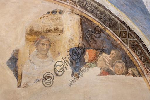 """""""Lunetta con Figura di Santo e cinque figure"""". Affreschi di Jacopo di Cione (fratello dell'Orcagna) su programma iconografico di Coluccio Salutati (1366-1406), conservati nel Palazzo dell'Arte dei Giudici e Notai, o del Proconsolo a Firenze."""