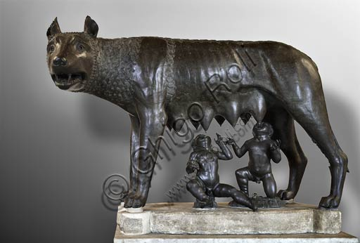 "Rome, Capitoline Museums: the ""Capitoline Wolf"", bronze statue, IV century BC."