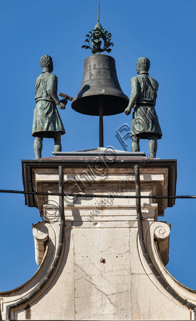 """Brescia, Piazza della Loggia, Clock Tower: detail of the automata, called """"Macc de le ure"""" (The crazy men of the hours) who hammer every hour on the bell."""