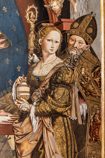 Perugia, National Gallery of Umbria: Mystic marriage of Saint Catherine, by Bernardino di Mariotto, 1530-3, tempera on panel. Detail with Magdalene and a bishop.