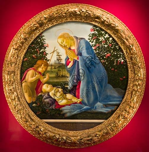 """Palazzo Farnese: """"Madonna adorante il Bambino con San Giovannino"""", di Sandro Botticelli (Alessandro di Mariano di Vanni Filipepi, Firenze, 1º marzo 1445 – Firenze, 17 maggio 1510)."""