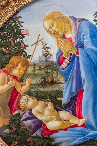 "Piacenza, Farnese Palace: ""Madonna adoring the Infant Jesus with St. Giovannino"", by Sandro Botticelli."