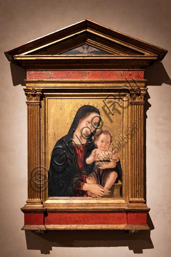 """Perugia, Galleria Nazionale dell'Umbria: """"Madonna con Bambino"""" , di Antonio Aquili detto Antoniazzo Romano, seconda metà del XV secolo, tempera su tavola."""