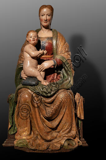 """Spoleto, Museo Diocesano: """"Madonna with Infant Jesus"""", wooden statue, XIV - XV century."""