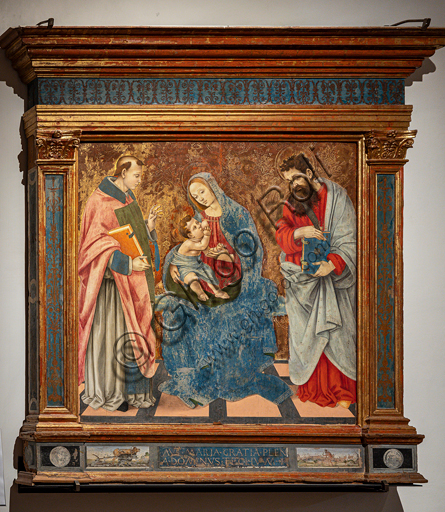"""Spoleto, Museo Diocesano: """"Madonna with Infant Jesus, between St Montano and St. Bartholomew"""", by Filippino Lippi, 1485."""