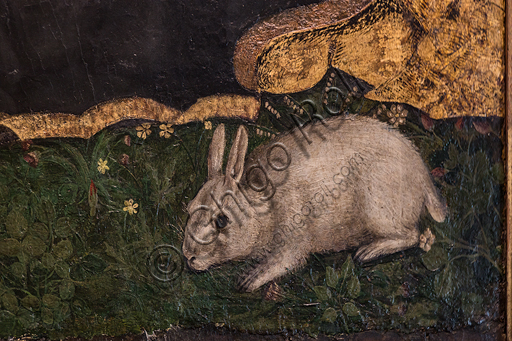 """Hans Clemer: """"Madonna and Child, also known as Madonna of the Rabbit"""", late 15th century - early 16th century, mixed media and gold on panel. Detail."""