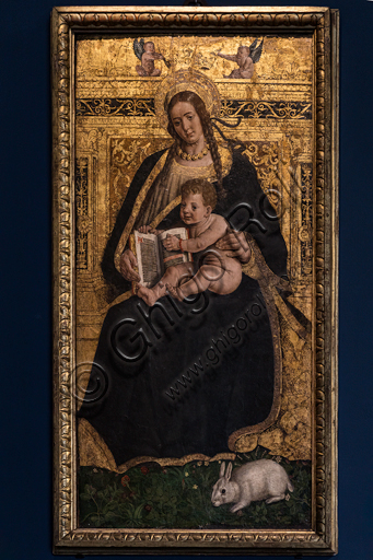 """Hans Clemer: """"Madonna and Child, also known as Madonna of the Rabbit"""", late 15th century - early 16th century, mixed media and gold on panel."""
