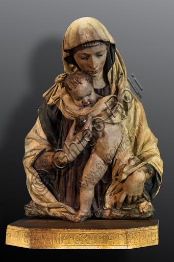 "Donatello or Luca Della Robbia: ""Madonna and Child, known also as Madonna of the Apple"", 1420-2, polychrome terracotta."
