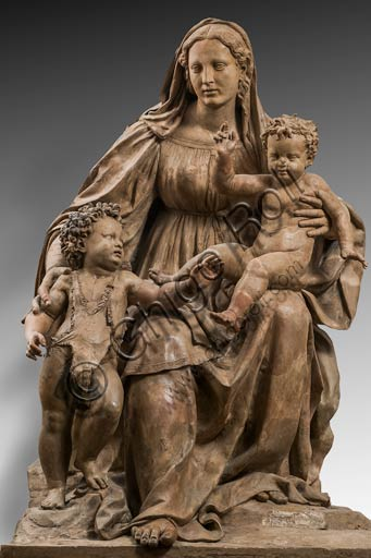 "Modena, Civic Museum of Art: ""Madonna with Infant Jesus and Infant St. John"", known as ""Madonna di Piazza"", by Antonio Begarelli (1499 - 1565)."