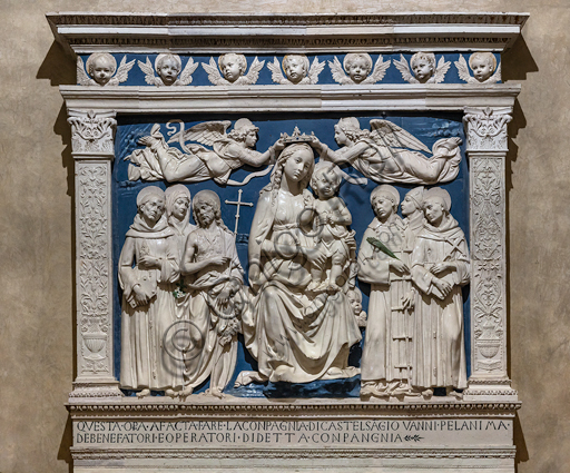 "Basilica of the Holy Cross, Medici Chapel: ""The Virgin Mary with Infant Jesys between Angels and Saints"", about 1480, by Andrea Della Robbia, glazed terracotta."
