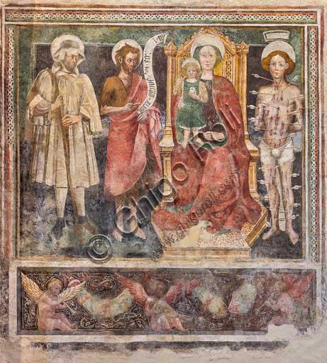 """Bergamo, Città alta, Church of S. Michele al Pozzo Bianco, nave, right wall: """"Madonna del Rosario and Saints"""", by Enea Salmeggia."""