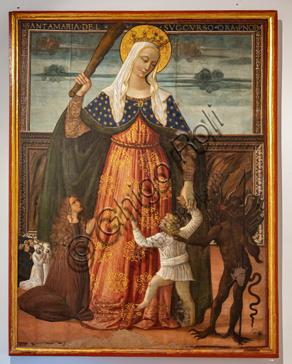 "Montefalco, Museum of St. Francis: ""Our Lady of Succour"", by Francesco Melanzio, last quarter of the XV century. Tempera on canvas."