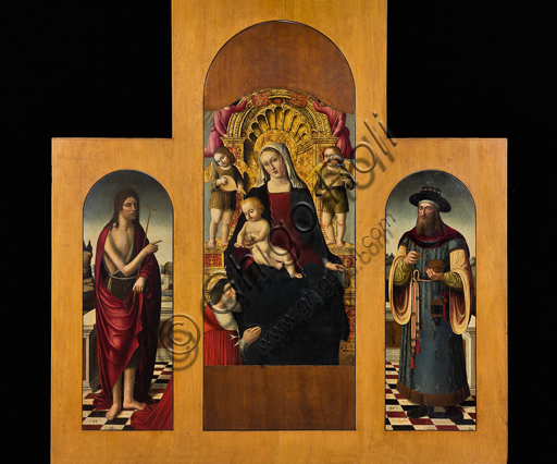 ", Genova, the Diocesan Museum: ""Madonna of the Victory"", triptych by Giovanni Barbagelata, 1503. The Virgin is with Pierre d 'Aubusson and St. John the Baptist and St. Pantaleone are represented on her sides."