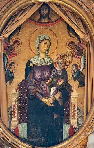 "Orvieto,  Basilica Cathedral of Santa Maria Assunta (or Duomo), the interior, Chapel Nova or Chapel of St. Brizio, the vault: ""Madonna of St. Brizio""."