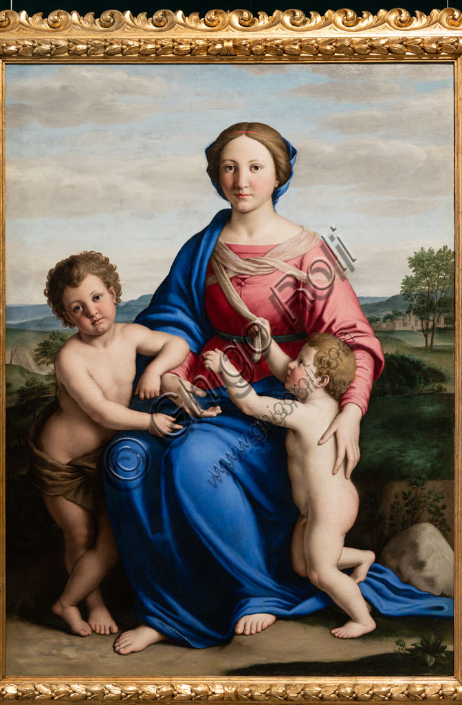 "Brescia, Pinacoteca Tosio Martinengo: ""The Virgin Mary with Infant Jesus and Infant St. John"", by  Giovan Battista Salvi, known asSassoferrato,  1650. Oil painting on canvas."