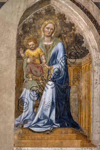 "Orvieto,  Basilica Cathedral of Santa Maria Assunta (or Duomo), the interior: "" Enthroned Madonna with Child and angels"", By Gentile da Fabriano, 1425, fresco."
