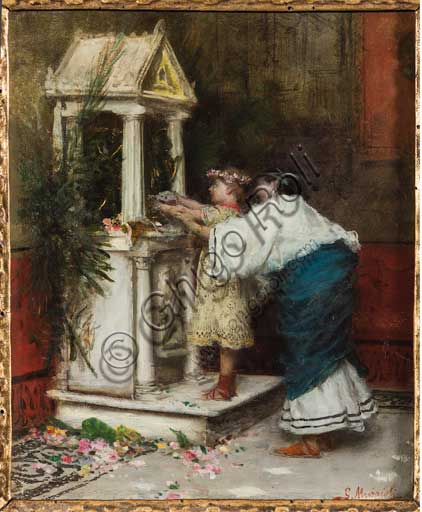 "Assicoop - Unipol Collection: Giovanni Muzzioli (1854 - 1894), ""Mother and Daughter in front of a Smal Temple"". Oil painting."