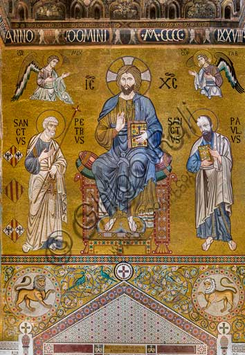 "Palermo, The Royal Palace or Palazzo dei Normanni (Palace of the Normans), The Palatine Chapel (Basilica), counter-façade: mosaic ""Majesty of Christ enthroned between Saints Peter and Paul"",  XII century."