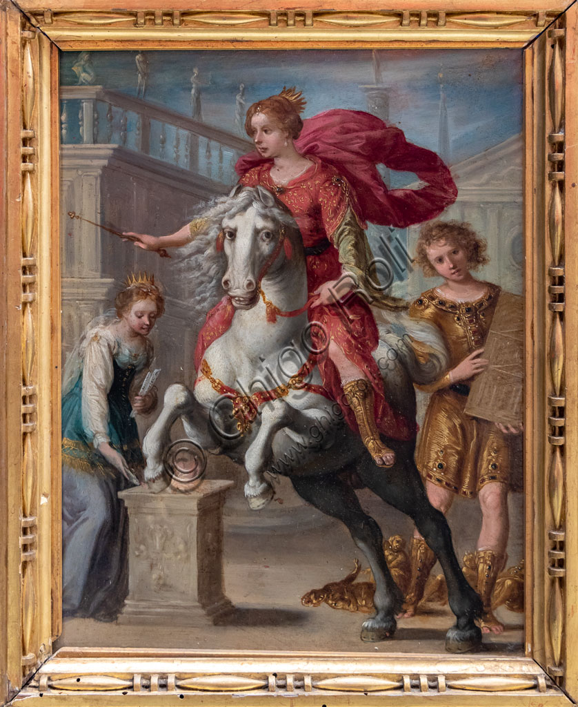 "Brescia, Pinacoteca Tosio Martinengo: ""Munificence (or Religion)"", 1610 - 20, by entourage of Giuseppe Cesari, known as Cavalier d'Arpino, 1610-20. Oil on copper."