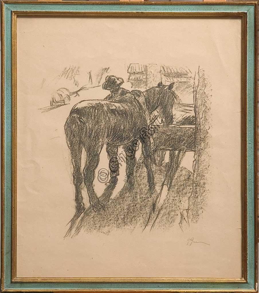 """Collezione Assicoop - Unipol: Giuseppe Graziosi (1879-1942), """"Il maniscalco"""", litografia su carta."""