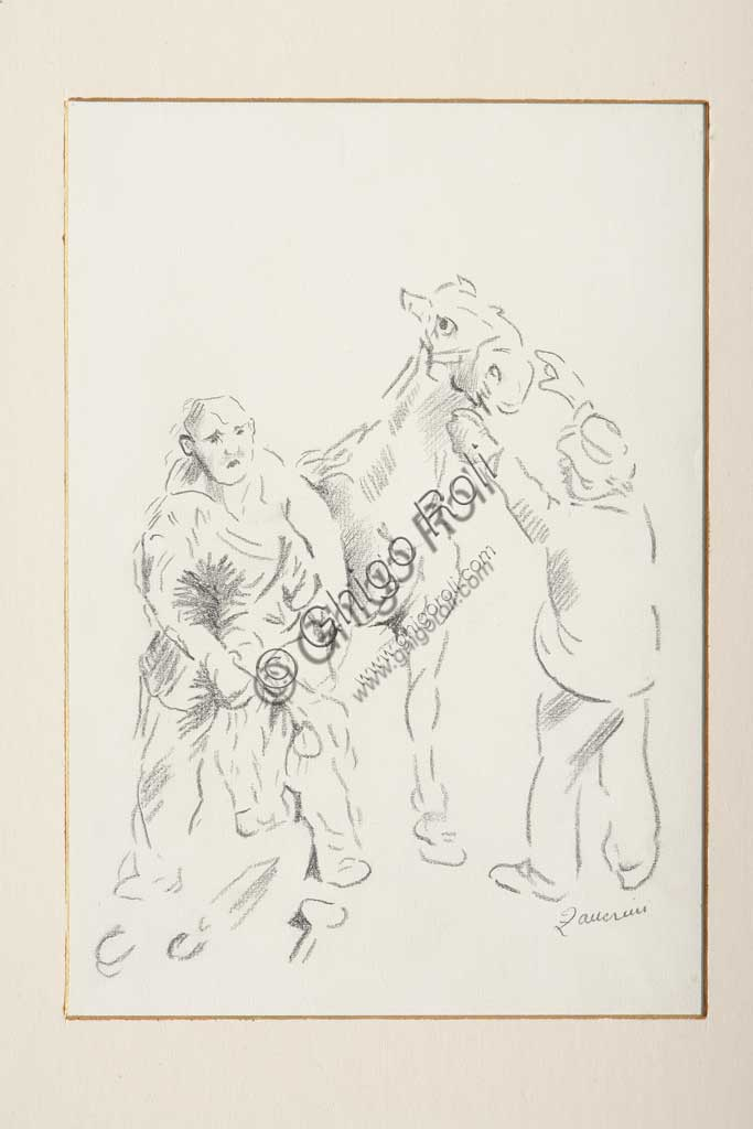 "Assicoop - Unipol Collection: Remo Zanerini (1923 - ), ""The Farrier"". Pencil on paper."