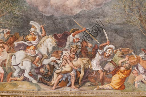 Mantua, Palazzo Ducale (Gonzaga's residence); Sala di Troia (Chamber of Troy): Ajax protects Patroclus's corpse during the battle of Troy. Frescoes by Giulio Romano and his assistants (1538 - 1539).