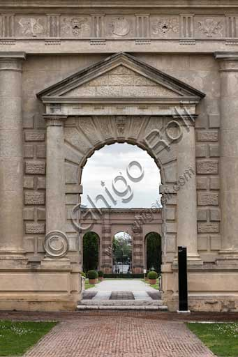 Mantua, Palazzo Te (Gonzaga's Summer residence), Cortile d'Onore (the Courtyard of Honour): the portal which leads into the garden.
