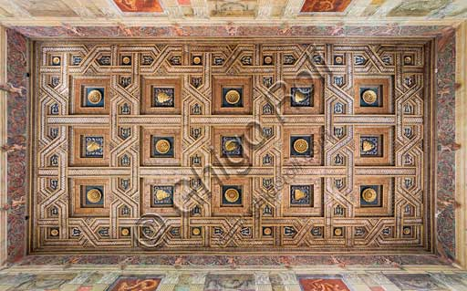 Mantua, Palazzo Te (Gonzaga's summer residence), Sala dei Cavalli (Hall of the Horses): the coffered ceiling. In the 15 lacunars we recognize roses and the Mount Olympus device (emblem). In the pentagon-shaped mirrors the device of the salamander is represented.