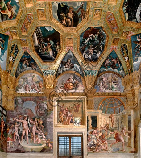 Mantua, Palazzo Te (Gonzaga's summer residence), Sala di Amore e Psiche (Chamber of Cupid and Psyche): north wall. At the centre, Bacchus (Dionysos) and Ariadne, on the left Adonis bathing, on the right Venus and Mars. Frescoes by Giulio Romano (1526 - 1528) who got his inspiration from Apuleius' Metamorphoses.