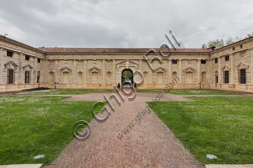 Mantua, Palazzo Te (Gonzaga's Summer residence): view of the Cortile d'Onore (Courtyard of Honour), towards the entrance (westwards).