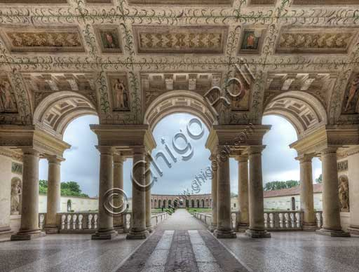 Mantua, Palazzo Te (Gonzaga's Summer residence): view of the Loggia of David, which faces the garden and the fish ponds.