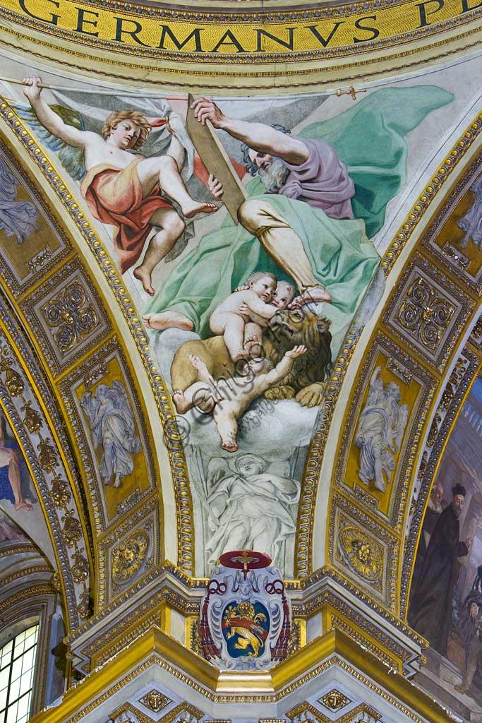 """Basilica of St Andrew della Valle, Pendentive of the transept dome: """"St Mark the Evangelist"""". Fresco by Domenichino (Domenico Zampieri), 1622 - 28."""