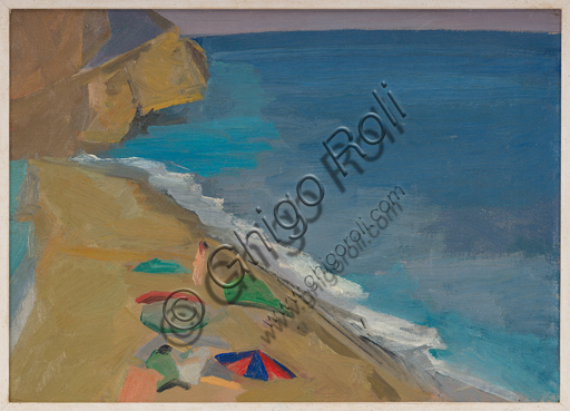 "Assicoop - Unipol Collection: Roberto Melli (Ferrara 1885 - 1958), ""Seascape"", 1945,Oil painting on panel."
