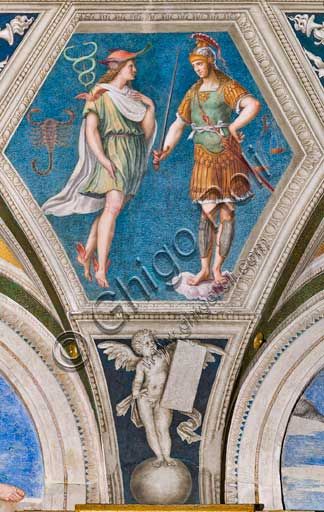 "Rome, Villa Farnesina, the Loggia of Galatea, detail of the vault: ""Mars and Mercury"", and the astrological signs of the Libra and the Scorpio. Fresco by Baldassarre Peruzzi (1511)."