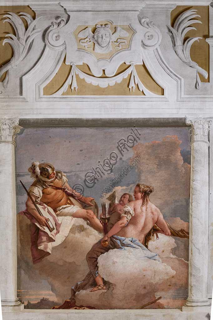 """Vicenza, Villa Valmarana ai Nani, Foresteria, Stanza dell'Olimpo:  """"Marte, Venere e Amore"""". Affresco di Giambattista Tiepolo, 1757."""