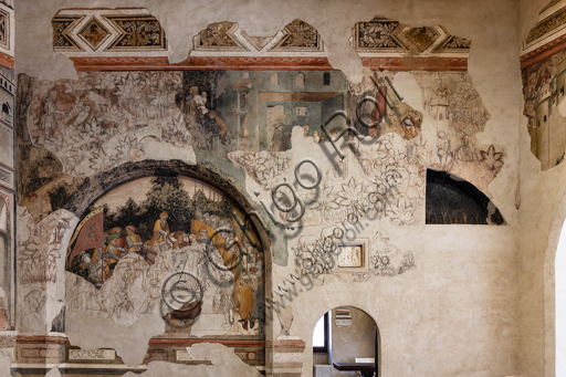 """Foligno, Trinci Palace: the Loggia of Romulus and Remus on the lives of the legendary founders of Rome to whom, the Trinci, ideally wanted to reconnect. The decoration is entrusted to Gentile da Fabriano, the greatest exponent of international Gothic in Italy, with aids (Jacopo Bellini, Paolo Nocchi, Francesco Giambono from Bologna and Domenico da Padova's Battista), and realized the 1411 and 1412 trails. Detail: """"Martyrdom of Rhea Silvia""""."""
