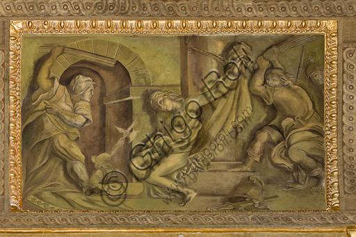 """Genova, Duomo (Cattedrale di S. Lorenzo),  interno, Cappella Senarega o di Nostra Signora del Soccorso (abside meridionale), volta: """"Il martirio di S. Sebastiano"""", di Giovanni Andrea Carlone (1690 circa)."""