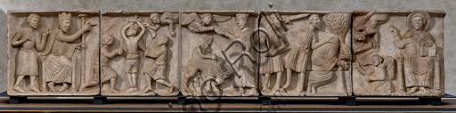 """Spoleto, Rocca Albornoz (Stronghold), National Museum of The Dukedom of Spoleto:""""Martyrdom of St. Blaise """", by anonymous sculptor, marble, XII - XIIIcentury."""