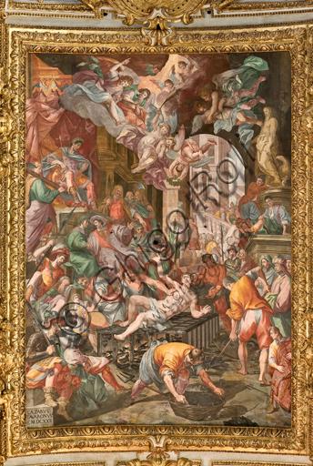 """Genova, Duomo (Cattedrale di S. Lorenzo), interno, volta: """"il martirio di San Lorenzo"""" (1622-24), affresco di Lazzaro Tavarone."""
