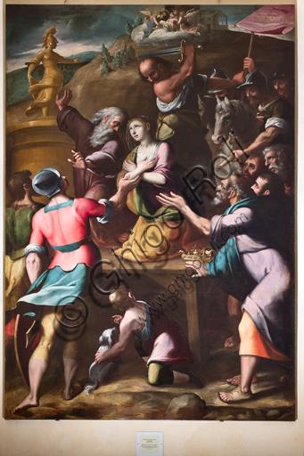 """Genova, Duomo (Cattedrale di S. Lorenzo), Interno, Battistero (già Chiesa di San Giovanni il Vecchio): """"Martirio di Santa Caterina"""", di Cesare e Alessandro Semino."""