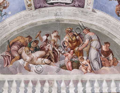 Maser, Villa Barbaro, the Hall of Olympus, Southern Wall, lunette above the Door to the Crociera Room: allegories of Winter and Spring (Vulcan and Venus). Frescoes by Paolo Caliari, known as il Veronese, 1560 - 1561.