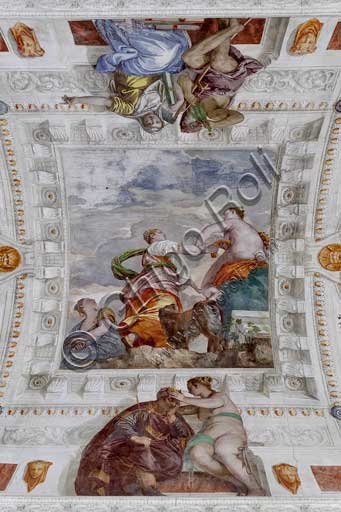 Maser, Villa Barbaro, the Room of the Little Dog, the vault, central fresco: Fortune, mistress of the world, denies Ambition every richness, while the Envy plots hiding a dagger in the folds of his robe. Fresco by Paolo Caliari, known as Il Veronese, 1560 - 1561.