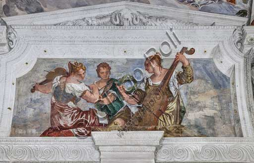 "Maser, Villa Barbaro, Room of the Conjugal Love: Three musicians who are a symbol of Harmony. Fresco by Paolo Caliari, known as ""il Veronese"", 1560 - 1561."