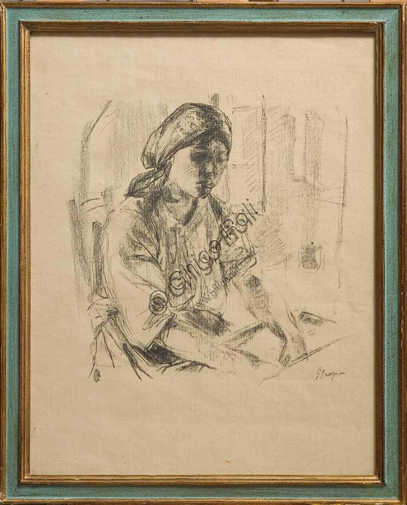 """Collezione Assicoop - Unipol: Giuseppe Graziosi (1879-1942), """"La massaia"""", litografia su carta."""