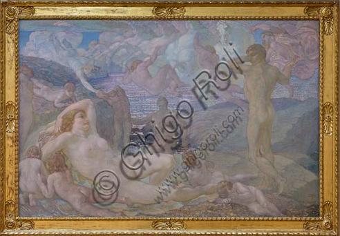 "Piacenza, Galleria Ricci Oddi:  ""Mater matuta o Aurora""(1907 - 1923), olio su tela di Adolfo De Carolis (1874 - 1928)."